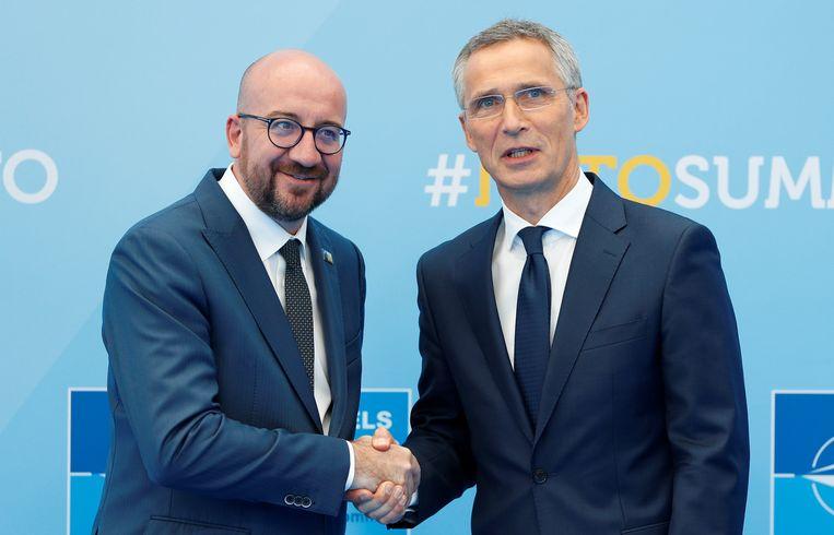 Premier Michel en NAVO-secretaris-generaal Stoltenberg in juli tijdens een bijeenkomst van de NAVO.