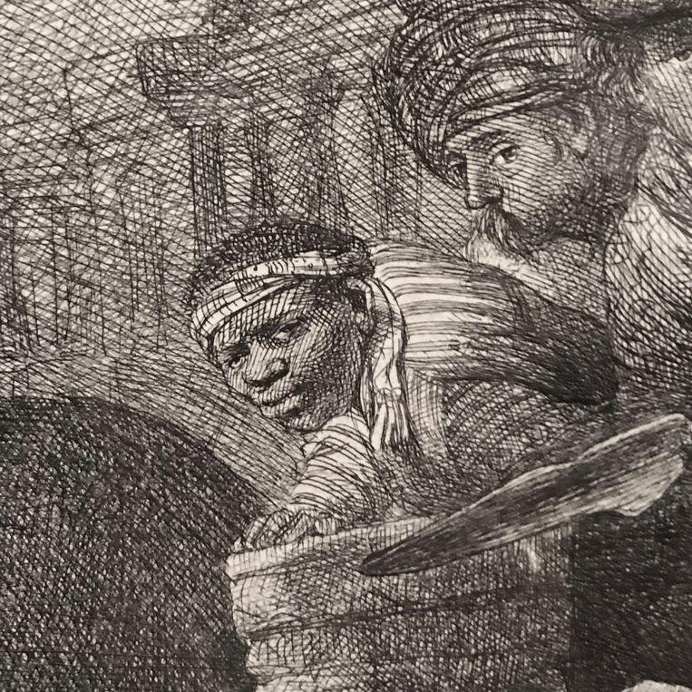 Detail van Rembrandts 'Christus voor Pilatus'. Hoe langer je naar het gezicht van de jongen kijkt, hoe meer je het gevoel krijgt dat-ie je net heeft opgemerkt. Beeld Collectie Rembrandthuis