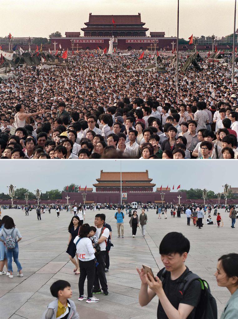 Het Tiananmenprotest (boven) is dertig jaar later (beneden) een blinde vlek onder Chinese jongeren.  Beeld AFP