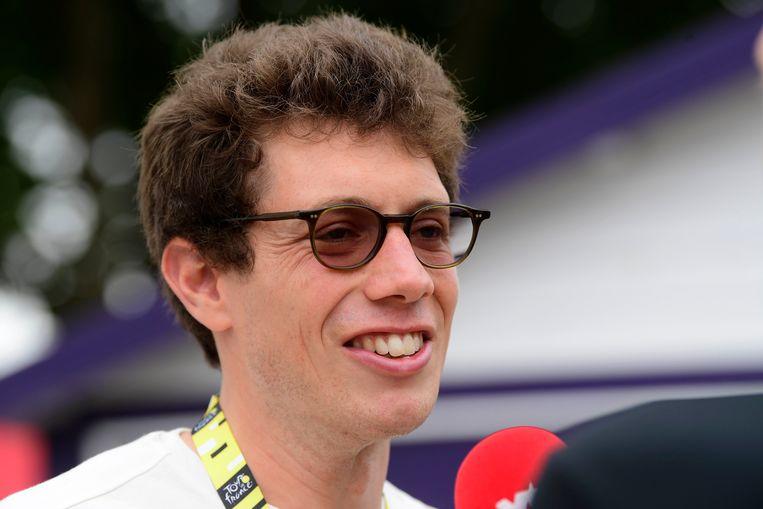 Stig Broeckx tijdens zijn bezoek in de Ronde van Frankrijk.