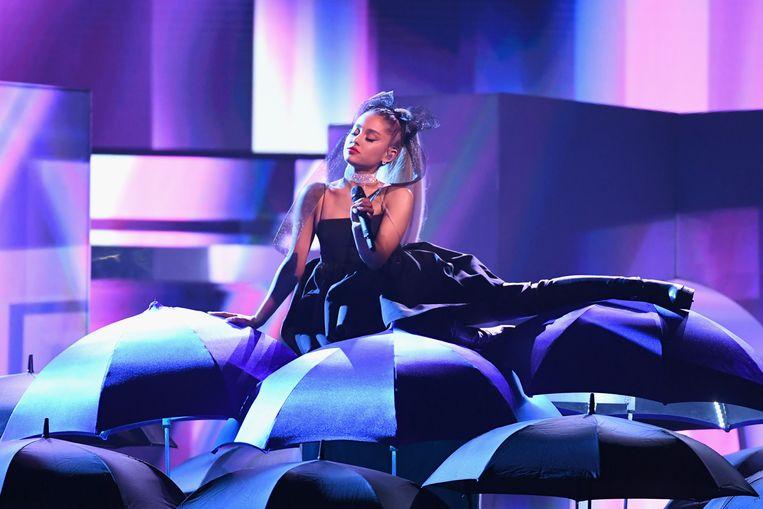 Ariana Grande treedt op bij de 2018 Billboard Music Awards in Las Vegas. Beeld AFP