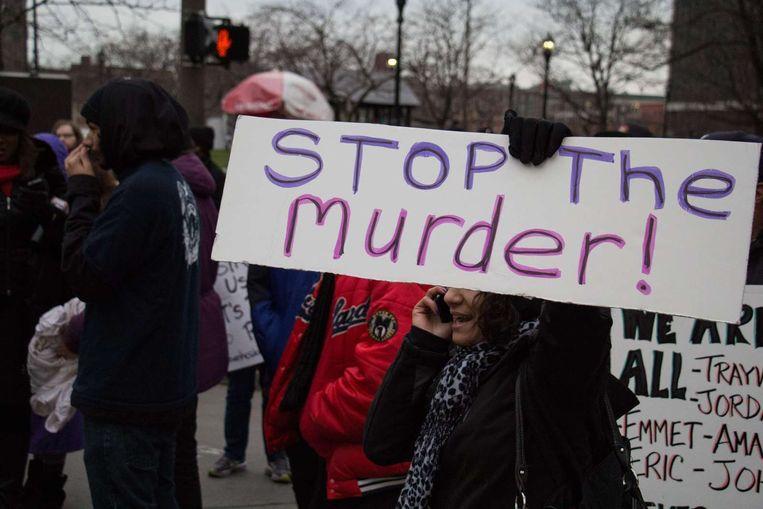 Een demonstratie in Cleveland naar aanleiding van de schietpartij waarbij Tamir Rice overleed. Beeld afp
