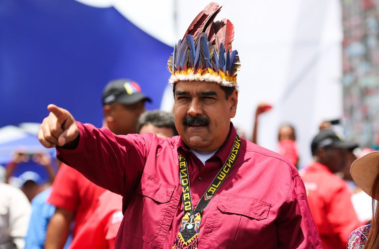"""De Venezolaanse president Maduro. De Verenigde Staten willen Venezolaans president Nicolas Maduro """"blijven isoleren tot hij zwicht""""."""