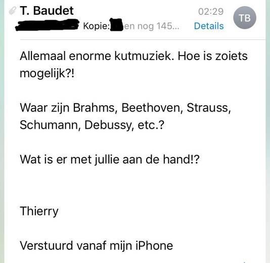 De email die Thierry Baudet vannacht naar zijn collega's stuurde