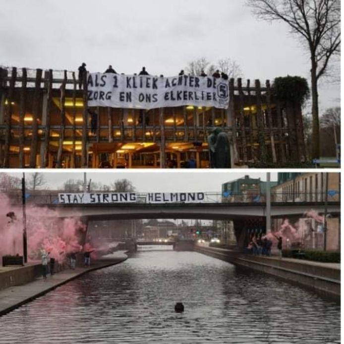De supporters van Helmond Sport tonen waardering voor het werk van de zorg.