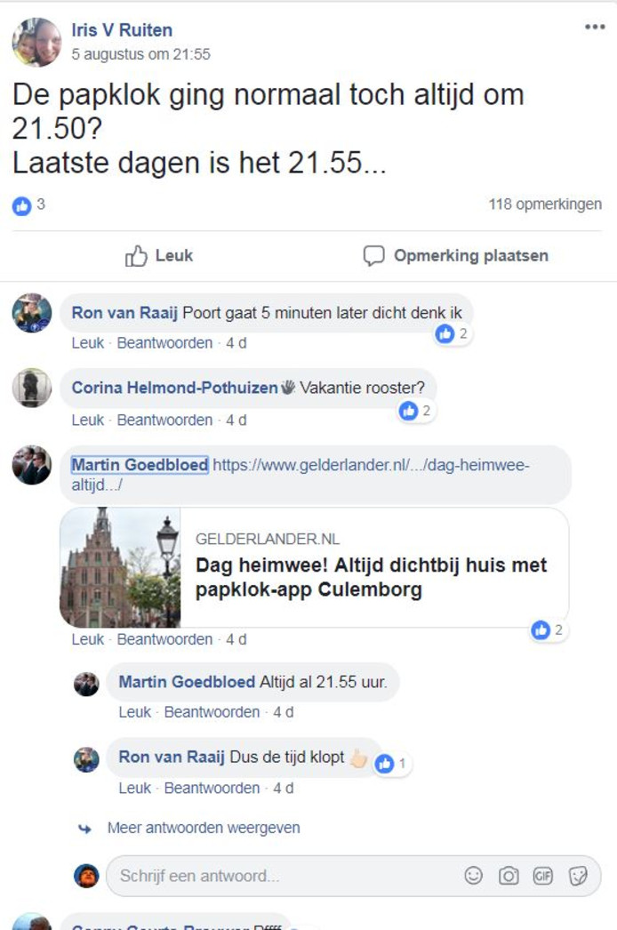 Discussie over de papklok op Facebook