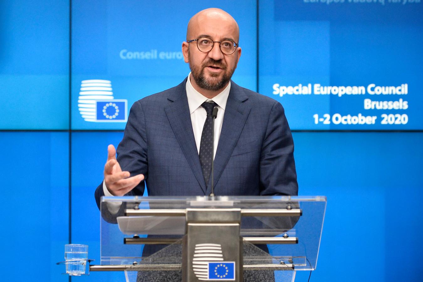 Europese Raadsvoorzitter Charles Michel tijdens de persconferentie na afloop van de vergadering op donderdagnacht. (02/10/2020)