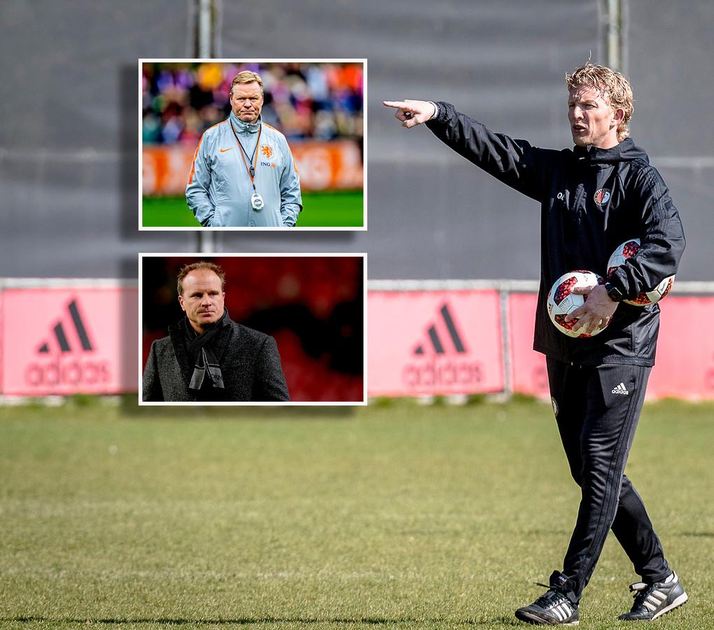 Dirk Kuyt. Inzetjes: Dennis Bergkamp en Ronald Koeman.