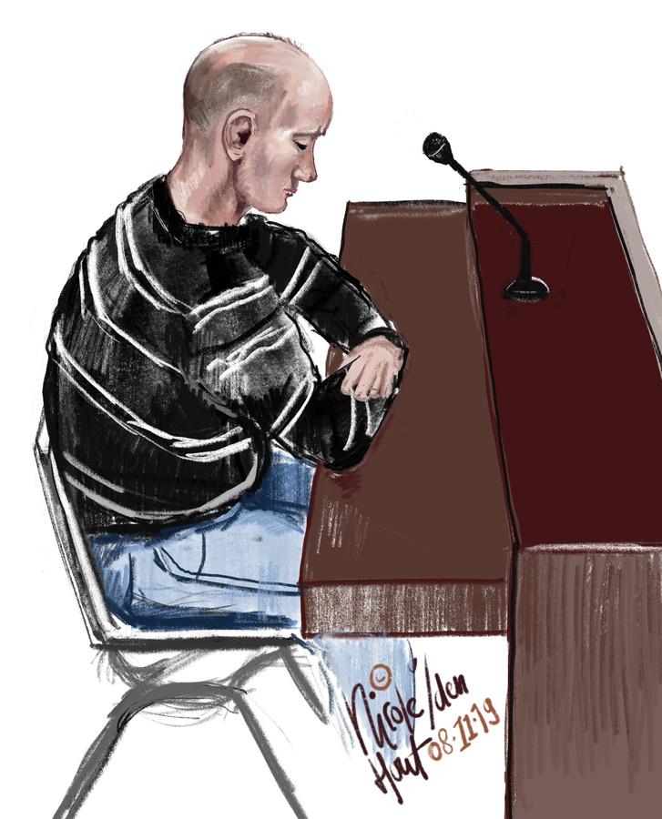 De verdachte Nijmegenaar  tijdens de zitting.