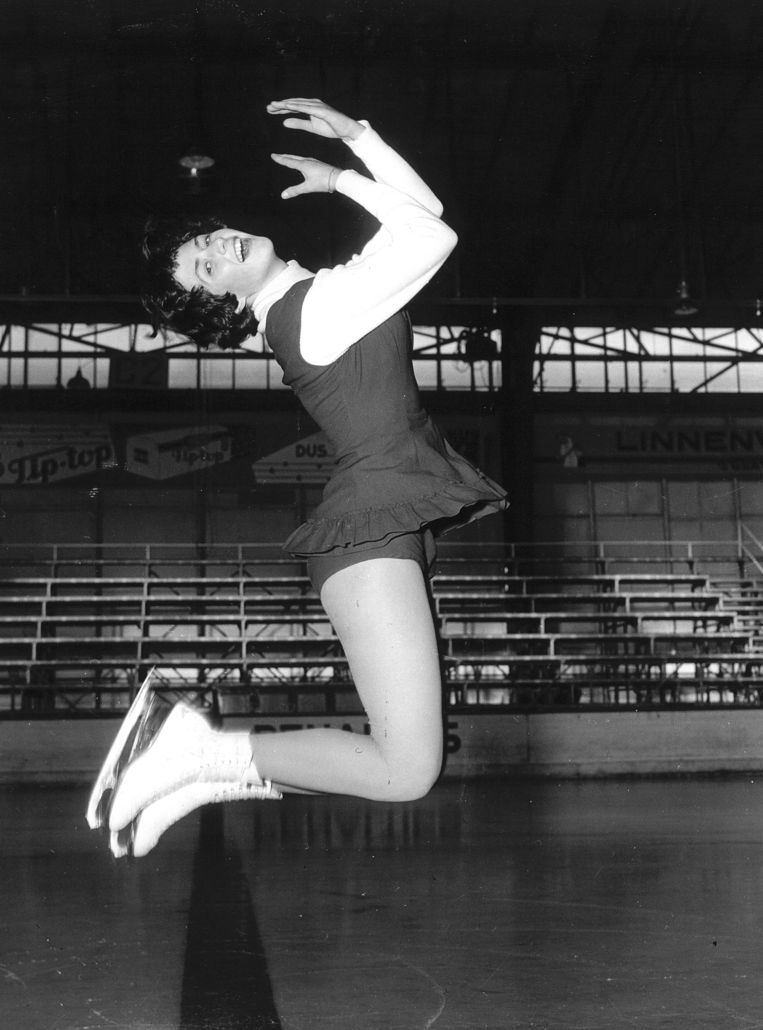 Joan Haanappel tijdens een training in 1956. Beeld ANP