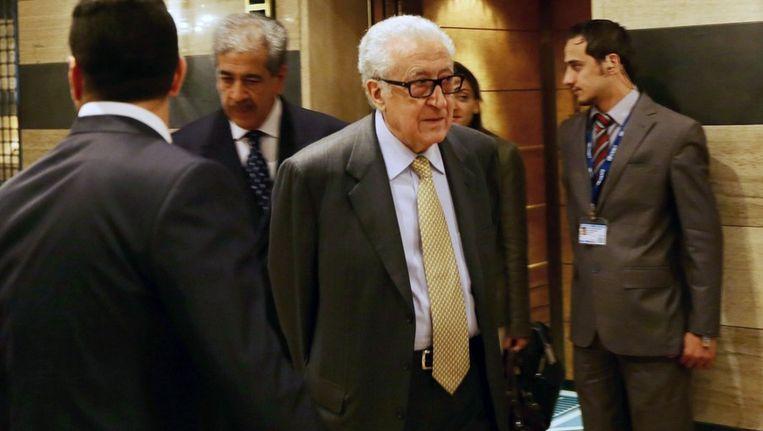 De speciale gezant van de VN voor Syrië, Lakhdar Brahimi, vandaag in het Sheraton hotel in Damascus, Syrië. Beeld afp