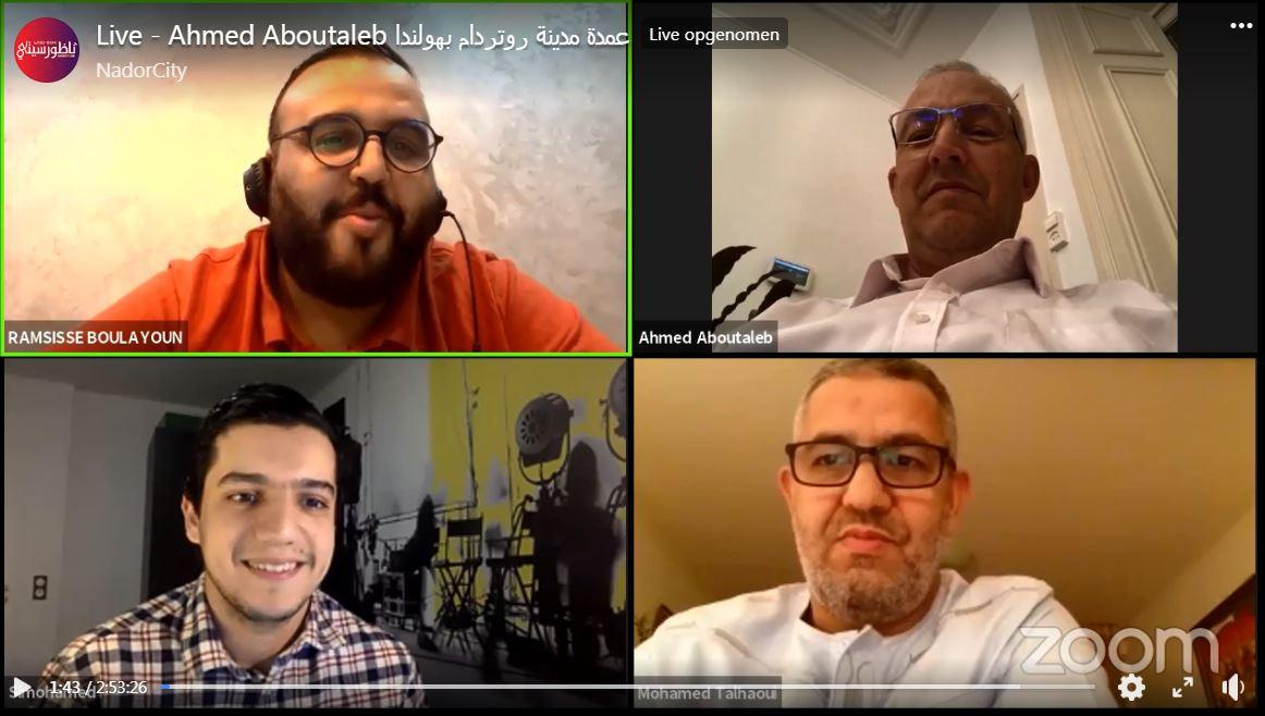 Het interview dat Aboutaleb gaf aan journalisten van NadorCity was zondag via een liveverbinding op Facebook te volgen.