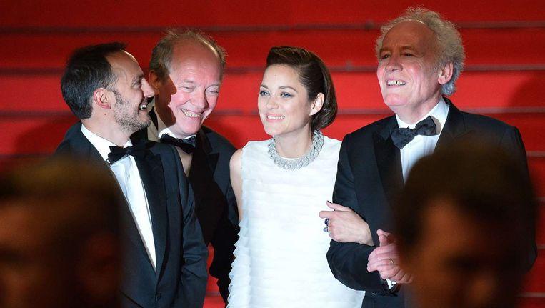 Fabrizio Rongione, Luc Dardenne, Marion Cotillard en Pierre Dardenne Beeld AFP