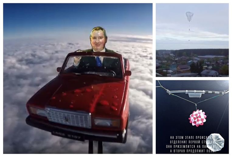 Een gemonteerde camera filmde het Ladaatje aan de heliumballon.  Een drone bracht de lancering in beeld (foto rechtsboven). Op 20 km hoogte vloog de ballon weg en ontvouwde de parachute zich (foto rechtsonder).