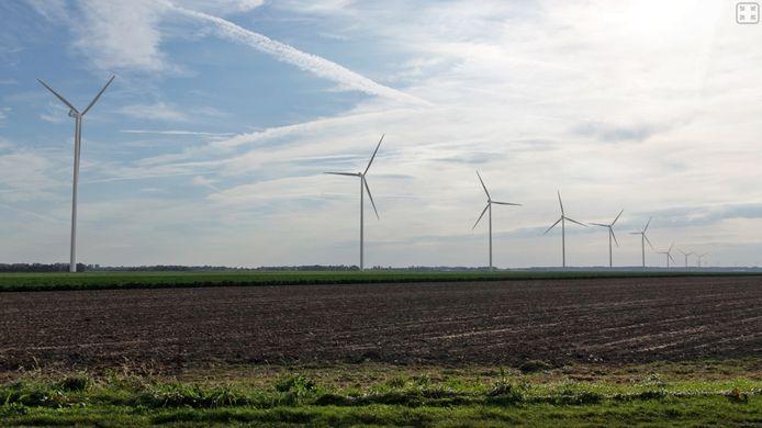 Visualisatie van nieuwe windturbines gezien vanaf de Kokkelweg in Biddinghuizen.