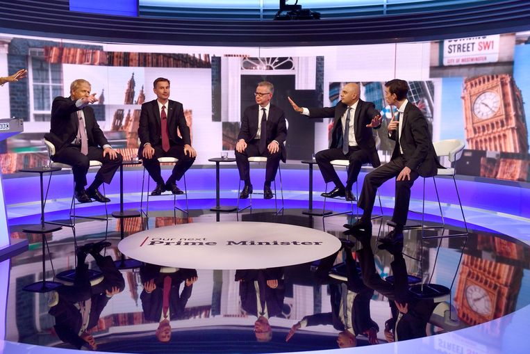 Boris Johnson, Jeremy Hunt, Michael Gove, Sajid Javid en Rory Stewart namen deel aan het debat.