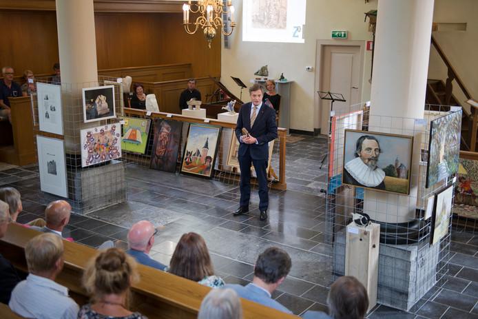 Jan Peter Balkenende spreekt bij de opening van de expositie over Jacob Cats in Grijpskerke.