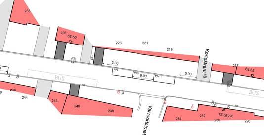 Het nieuwe parkeerplan met de drie parkeervakken.