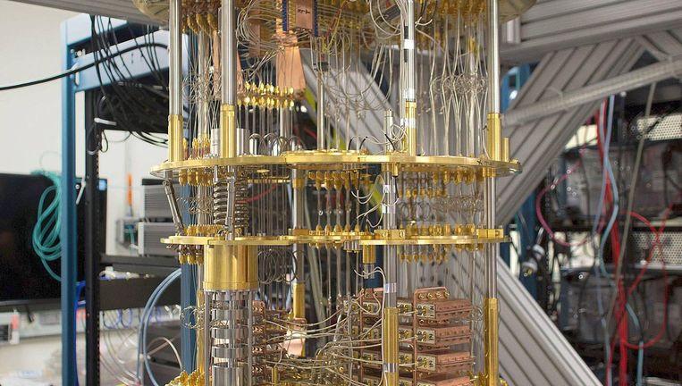Experimentele quantumcomputer met vijftig qubits in het laboratorium van IBM. Beeld