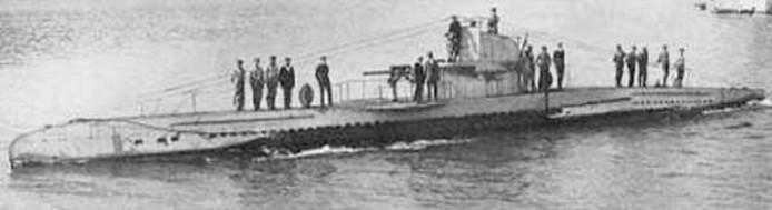 Een onderzeeboot van de klasse UB II, in dit geval de UB-45 die in november 1916 bij Bulgarije op een mijn liep en zonk.