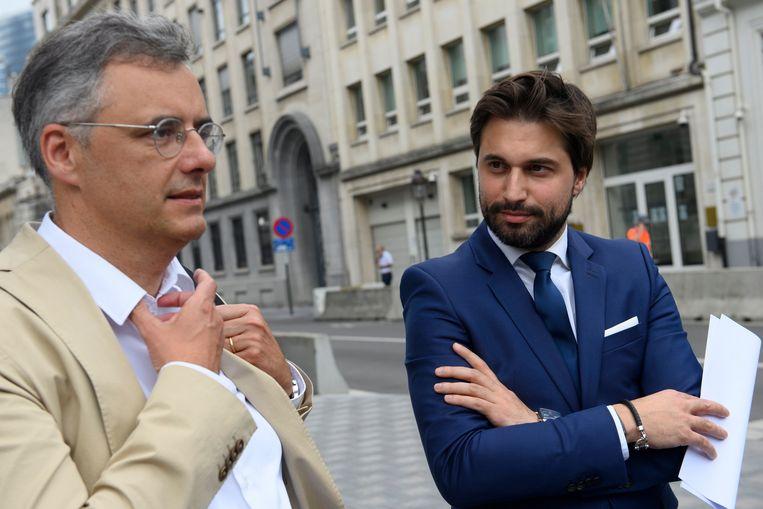 CD&V-voorzitter Joachim Coens (l.) samen met Bouchez (archiefbeeld).