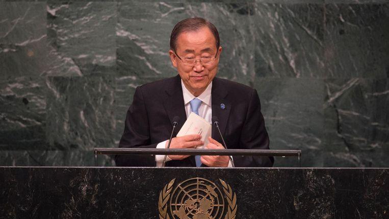 Vn-secretaris-generaal Ban Ki-moon tijdens de Algemene Vergadering van de Verenigde Naties in New York. Beeld null