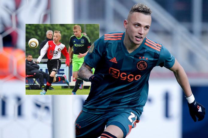 Noa Lang. Inzet: Noa Lang als Feyenoorder in duel met Matthijs de Ligt bij Feyenoord-Ajax Onder 14.