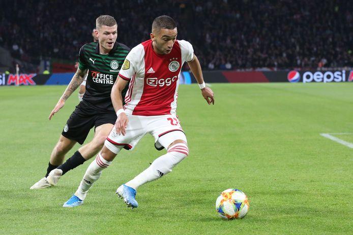 Hakim Ziyech kan tegen RKC zijn honderdste eredivisieduel voor Ajax spelen.