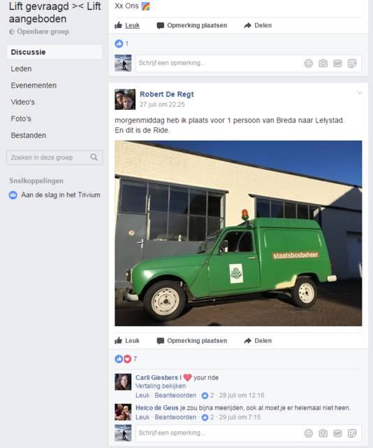 Robert de Regt biedt af en toe een lift in zijn Renault 4 met grijs kenteken aan op de Facebooksite Lift gevraagd >< Lift aangeboden.