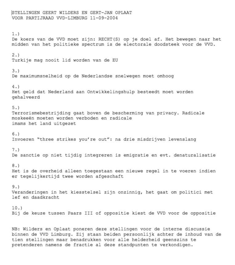 Het tienpuntentplan dat Geert Wilders in 2004 zijn zetel in de VVD-fractie kostte. Beeld