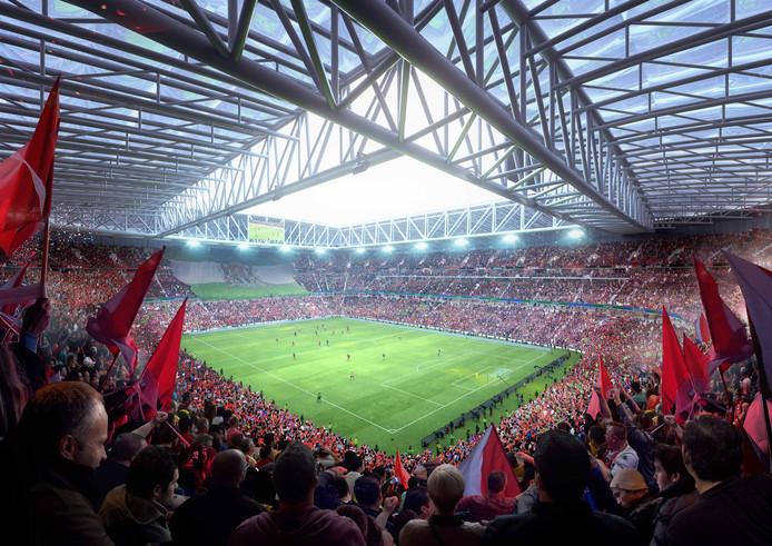 Het interieur van het beoogde nieuwe stadion.