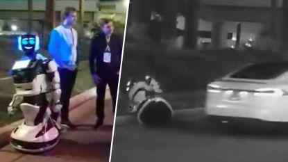 VIDEO. Een echt SF-ongeluk: zelfrijdende auto rijdt zelfstandige robot aan