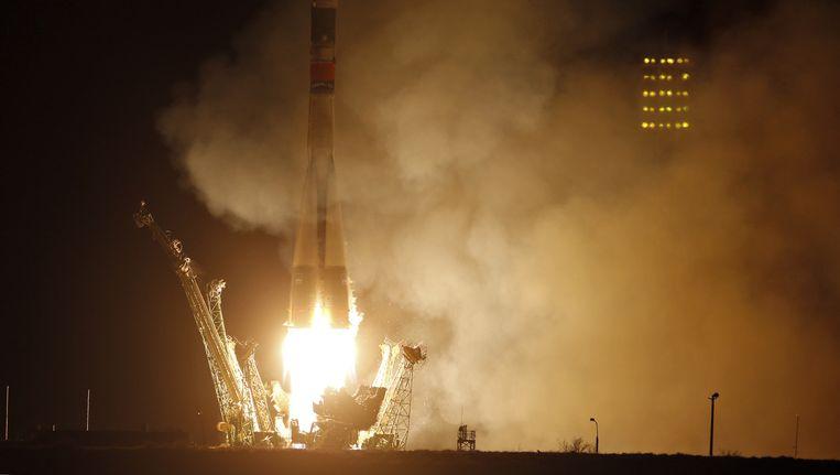 Een Soyuz-FG die op 28 maart met een nieuwe bemanning naar het ISS werd gelanceerd.