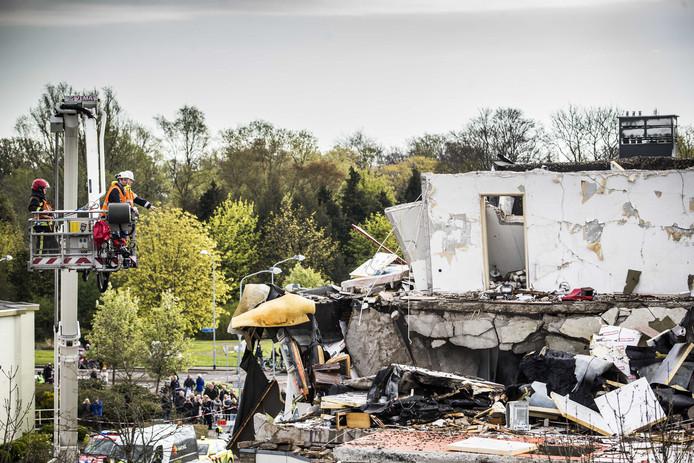 Het appartement is volledig weggevaagd door de explosie.