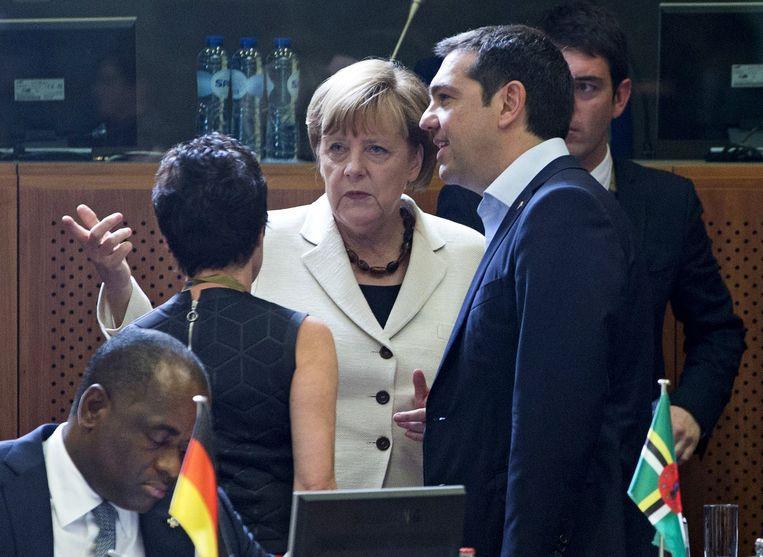 Overleg tussen Bondskanselier Angela Merkel en de Griekse premier Alexis Tsipras in Brussel, foto van afgelopen woensdag.