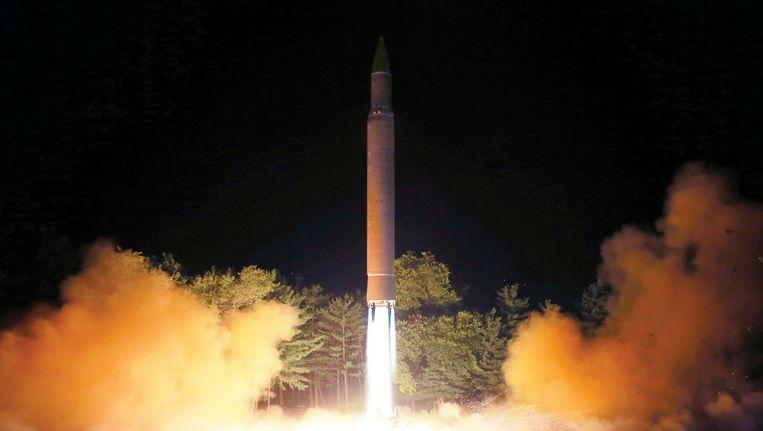 Een foto van de raketlancering van 28 juli, vrijgemaakt door het Noord-Koreaanse persagentschap.