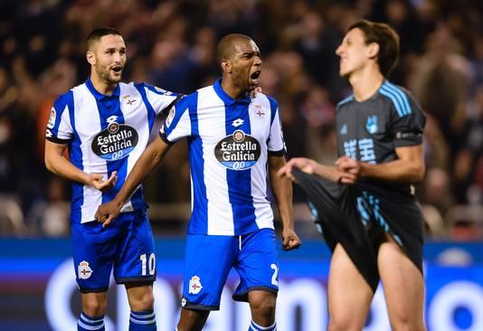 Ryan Babel (midden) als speler van Deportivo La Coruña.
