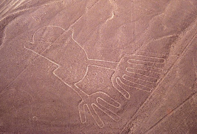 """""""Las manos""""-figuur in Nazca."""