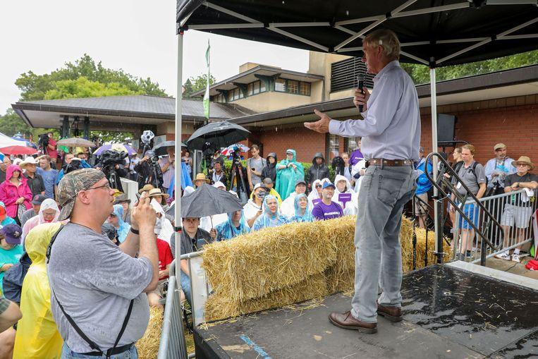 Bill Weld spreekt op de Iowa State Fair in Des Moines, Iowa.