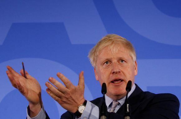 Boris Johnson tijdens de aftrap van zijn campagne vandaag.