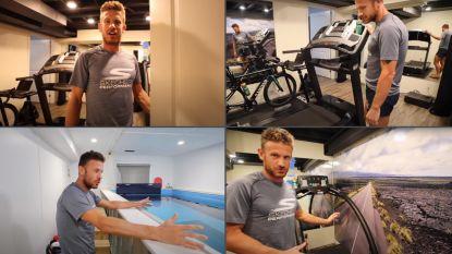 Een eindeloos zwembad, sauna en gigantische fotomuur: de ultieme trainingsbunker van Canadese triatleet die Van der Poel op Zwift het nakijken gaf
