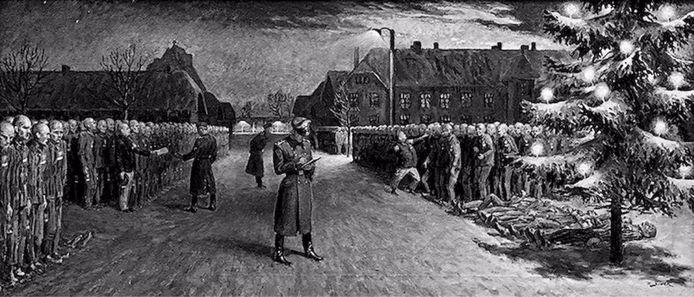 Pentekening over kerstavond in Auschwitz.