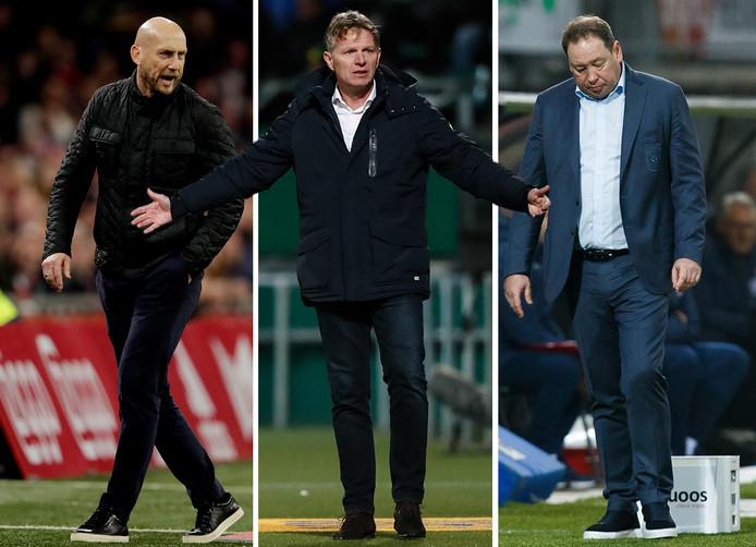Jaap Stam, Fons Groenendijk en Leonid Sloetski stapten dit seizoen op bij respectievelijk Feyenoord, ADO Den Haag en Vitesse. Robert Maaskant (niet op de foto) werd ontslagen bij VVV-Venlo.