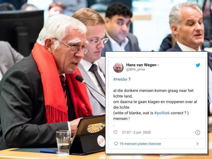 Hans van Wegen (links) met de gewraakte tweet die hij dinsdagavond de wereld in stuurde.