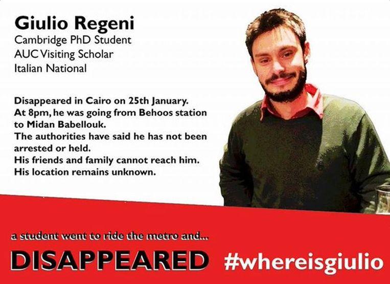 Een opsporingsbericht voor de Italiaanse student Giulio Regeni.