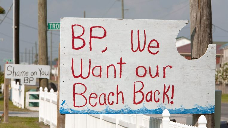Protest tegen BP in het dorpje Grand Isle. Beeld epa