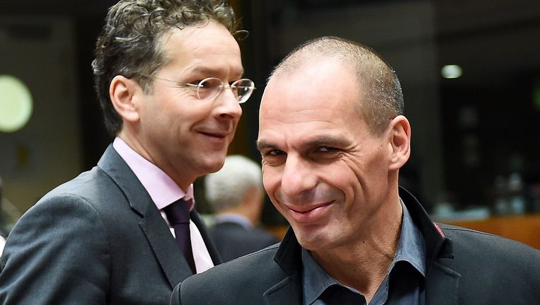 Jeroen Dijsselbloem en Yanis Varoufakis.