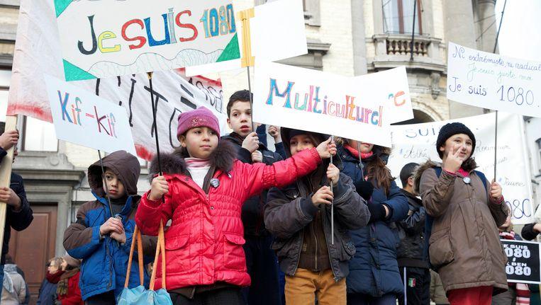 Manifestatie 'Je suis 1080' in Molenbeek in januari.