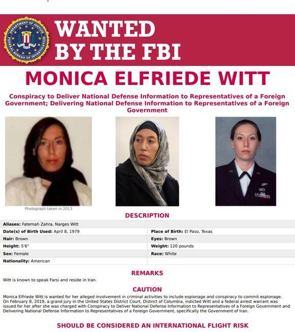 Monica Elfriede Witt wordt gezocht door de FBI.