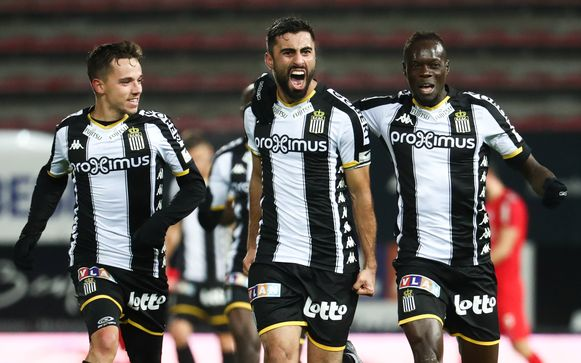 Charleroi's Kaveh Rezaei celebrates after scoring during a soccer match between Sporting Charleroi and KAS Eupen, Saturday 09 November 2019 in Charleroi, on day 14 of the 'Jupiler Pro League' Belgian soccer championship season 2019-2020. BELGA PHOTO VIRGINIE LEFOUR